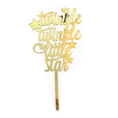 Ogquaton Glitter 'Twinkle Twinkle Little Star' Kuchen Topper Little Star Erster Geburtstag Party Star Food Topper Kleiner Stern Baby Shower Dekorationen (Twinkle Little Star Baby-dusche Dekorationen)
