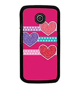 Fuson Designer Back Case Cover for Motorola Moto E :: Motorola Moto E XT1021 :: Motorola Moto E Dual SIM :: Motorola Moto E Dual SIM XT1022 :: Motorola Moto E Dual TV XT1025 (love shape lines strips design)