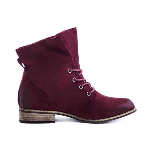 Stylische Ankle Worker Boots Schnür Stiefeletten Stiefel in hochwertiger Lederoptik Wine Wildlederoptik