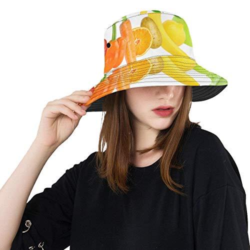 Wietops Mais gemaltes Gemüsefrucht Sommer-Unisexbaumwollmode-Fischen-Sun-Eimer-Hüte für Kind, Teenager, Frauen und Männer mit besonders anpassender Top-Packable-Fischer-Kappe für im Freienreise