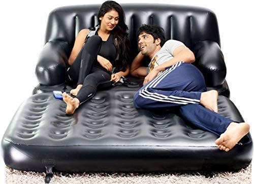 AK56 5 in 1 Inflatable Three Seater Queen Size Sofa Cum Bed with Pump