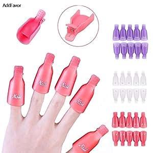 China, Purple : AddFavor 10Pcs Nail Polish Remover Cap Nail Gel Aid Clip Wrap Kit Art Accessories Acrylic Nail Tools Set Cleaner Professional