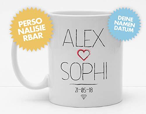 Tasse | Hochzeittassen | Tasse mit Namen und Datum | Personalisierte Tasse | Kaffeetasse | Liebe | Liebespaar | Verliebte | Hochzeit (Künstler-kaffee-tasse)