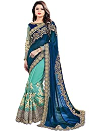 Arohi Designer Silk, Georgette And Net Embroidered Saree With Blouse Piece (Blue And Green, Free Size)