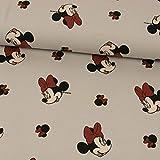 Stoffe Werning Baumwolljersey Lizenzstoff Minnie Mouse Hellgrau Kinderstoffe - Preis Gilt für 0,5 Meter