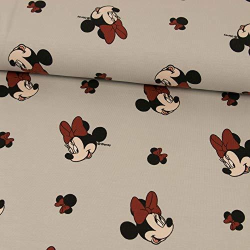 Stoffe Werning Baumwolljersey Lizenzstoff Minnie Mouse hellgrau Kinderstoffe - Preis Gilt für 0,5 Meter (Und Mickey Minnie Stoff)