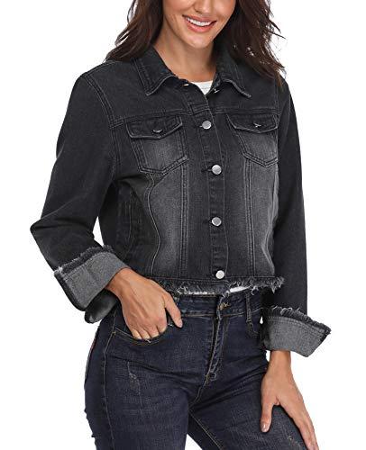 MISS MOLY Damen Jacken Jeans Denim Outwear Mode Umlegekragen Turn down Basic Brusttaschen Einreiher Solid Black lässige Lange Ärmel - XS -
