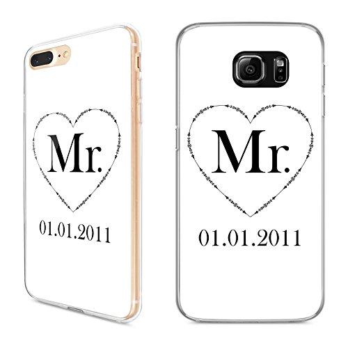 Premium Handyhülle Mr & Mrs Datum Name für Apple iPhone Hardcase Valentinstag, Handymodell:Apple iPhone 7, Hüllendesign:Design 2 | Hardcase Klar