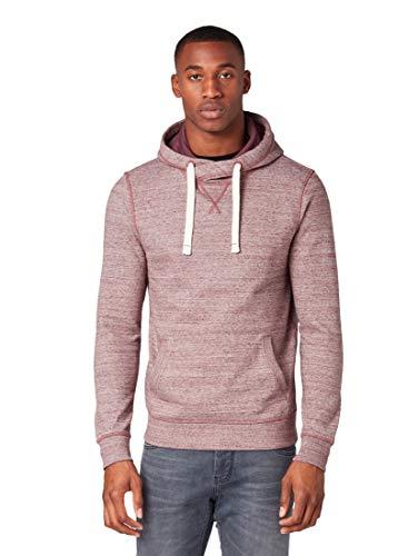 TOM TAILOR Herren Multicolour Hoody Sweatshirt, Rot (Burgundy Multi Melan 19514), Large (Herstellergröße: L) -
