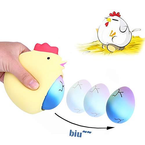 Kawaii Langsam Dekompression Creme Duftenden Groß Squishy Spielzeug Squeeze Spielzeug,Die Überraschungs-Henne, die sternenklaren Regenbogen-Eier legt, kreative Pressung entlasten ()