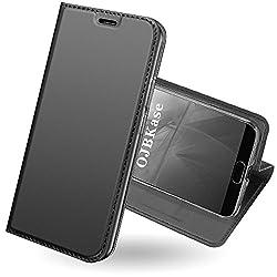 Huawei P20 Pro Hülle,ojbkase Premium Slim Pu Leder Handy Schutzhülle [Standfunktion] [Kartensteckplatz] [Magnetisch] Hülle Cover Brieftasche Ledertasche Bookstyle Tasche Lederhülle Handyhülle Für Huawei P20 Pro (Schwarzgrau)