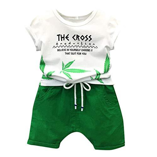 EUCoo_ Kinder 1-3 Jahre alt männlich Baby Kinderkleidung Kurzarm Buchstaben Blätter drucken weißes Top + grüne Shorts Sommer zweiteilig(Weiß, 100/L)