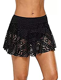 Asvivid Womens Tankini Swimswear Bottom Hollow Out Lace Overlay Swimming Short Panty Size 6-22