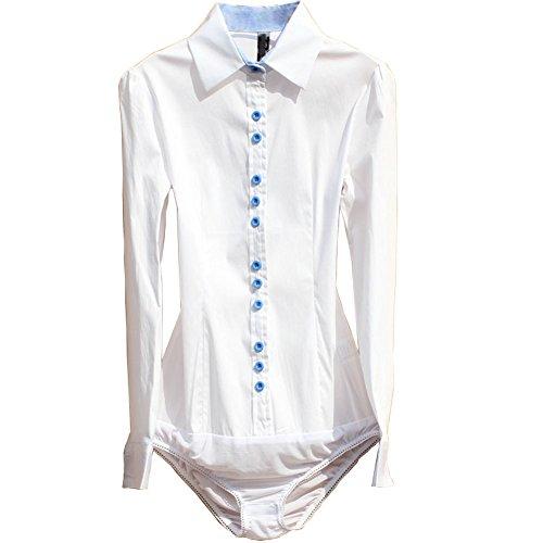 E-SHINE CO Frauen Langarm-Hemd OL Bodysuit Jumpsuit Top Bluse Weiß