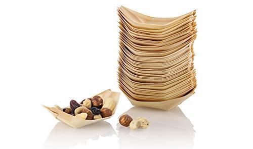 NATUREstar 100 x Holz-Schälchen | Bio Snackschalen für Fingerfood | 100% kompostierbar und umweltfreundlich | Holzschiffchen | Holzboote | Holzschalen | Party Geschirr | Naturprodukt (S (10,5 x 5cm))