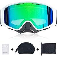 Fansport Gafas de Esquí Snowboard, Lente Anti-Niebla de Dual Capa, 100% UV400 protección, Marco doblable,magnético desmontable Diseño de la lente,para snowboard, esquí, skating y otros deportes de nieve, Profesional Unisex