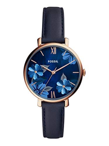 Fossil ES4673 Uhr Damenuhr Lederarmband vergoldet 3 bar Analog Blau