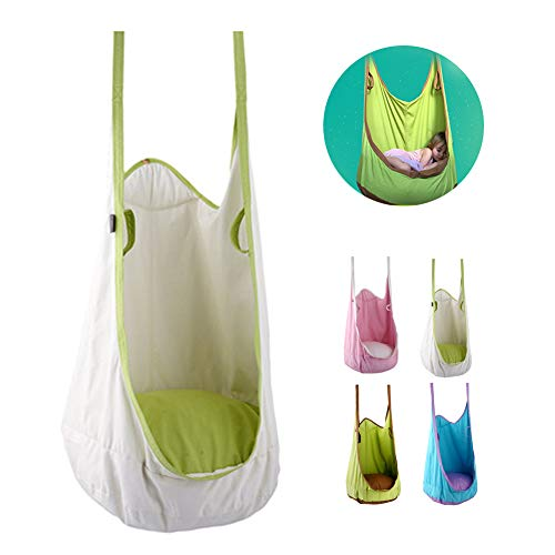 Kind Hängesessel,Erwachsener Stofftasche Hängematten,Spielzeug Spielgeräte,Geeignet für Outdoor und Indoor Familiengarten Terrasse Balkon,White