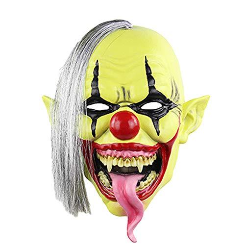 nihiug Horror-grün Gesicht Clown Maske Halloween Weihnachten Latex Maske Kopfbedeckung,Yellow-OneSize
