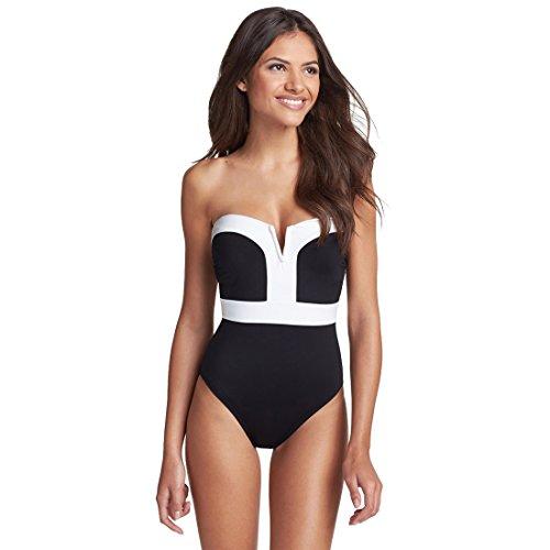 Bellezza Donna Costumi interi Push-up Bordo Bianco Colore Bloccato Imbottito Costumi da Bagno Mare e piscina Vacanza