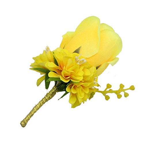 Boutonniere Buttonholes Groom Groomsman Best Man Rose Wedding Flowers Accessories Prom Party Suit Decoration Yellow