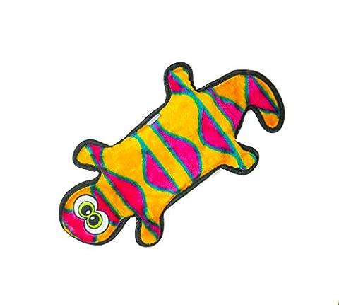 Outward Hound 32071 Invincibles Gecko Peluche Pas de Rembourrage Jouet Qui Couine Jouet pour Chiens, 2 Pouet, Rouge et Orange