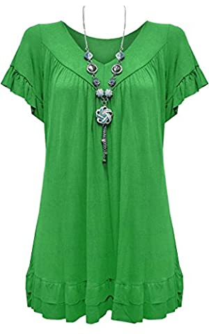 New Ladies Womens Gypsy Frill Hippy Plus Size Necklace Top FOREST GREEN UK SIZE 16-18