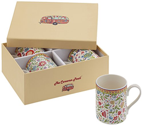 Churchill The Caravan Trail - Juego de 4 tazas con caja de regalo, diseño de flores