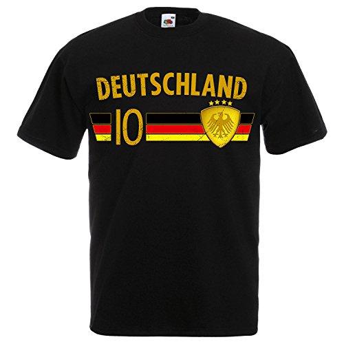 Fußball WM T-Shirt Fan Artikel Nummer 10 - Weltmeisterschaft 2018 - Länder Trikot Jersey Herren Damen Kinder Deutschland Germany Schwarz-Gold 3XL