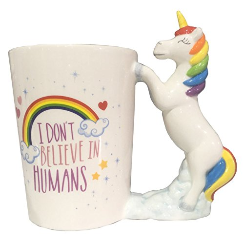 I Don't Believe in Humans Unicorn Shaped Handle Mug
