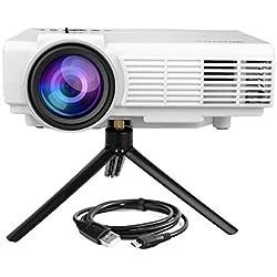 WiMiUS Vidéoprojecteur Full HD Soutien 1080P Rétroprojecteur LED Home Cinéma Projecteur HDMI USB AV VGA TF Compatible avec Amazon Fire Stick, PC,PS4, Xbox, TV Box,Laptop (Trépied inclus)