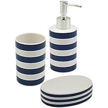 Harbour Housewares Set de rayas blancas y azules Dispensador de jabón, jabonera y vaso para