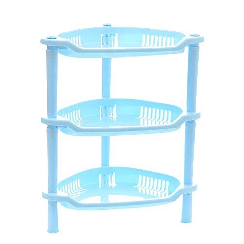 teerfu Eckregal Badezimmer, Dusche Caddy rostfrei Regal Küche Badezimmerschrank, plastik, Sector-3Tier-Blu, 10.0 * 8.3 * 13. 0inch