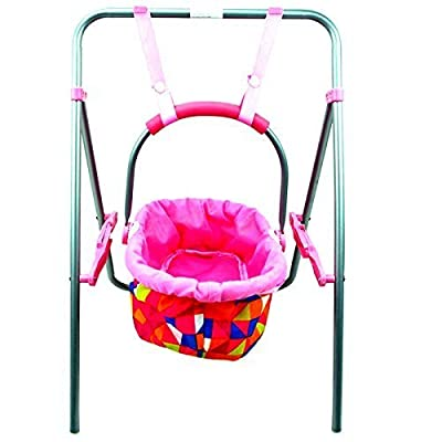Rexco Childrens Kids Deluxe Baby Doll Folding Swing Cradle Moses Basket Metal Frame Removable Carry Cot Bed Toy Accessories Girls Role Play Pretend Game Xmas Gift