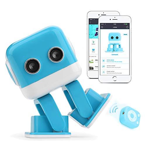 RcTecnic Mini Interaktiver Roboter für Kinder Sinnliche und ferngesteuerte Cubee, Camina, Canta, Habla, Tanze und mit Musik, Fernsteuerung über App zur Programmierung des Bauwerks Leicht blau
