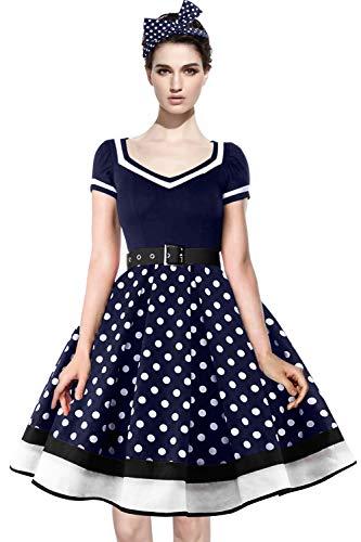 Axoe Damen Festliche Kleid 50er Jahre Rockabilly Petticoatkleid mit Gepunktetes Stirnband Navy Gr.46 -