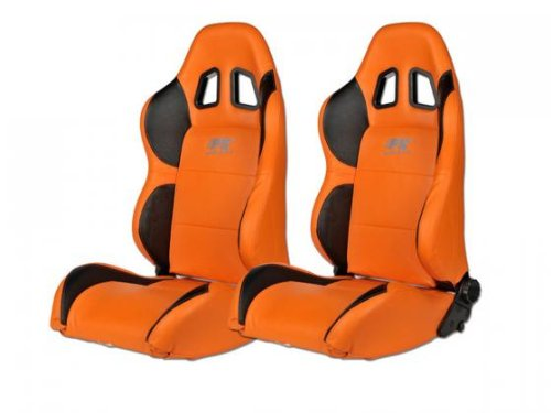 FK-Automotive Sportsitz Set Houston 1xlinks+1xrechts orange schwarz, Naht orange