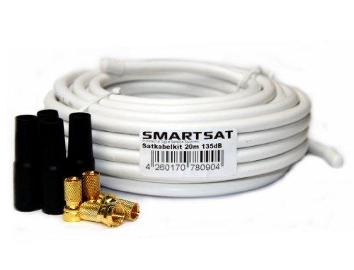 Smartsat 20m 135dB Kupfer Koaxial Kabel 8,2mm, SAT-Kabel inkl. 4 F-Steckern vergoldet und 4 Schutztüllen gratis, 20m Koaxkabel für Digitalfernsehen, Schirmungsmaß 135dB - bester Empfang für HDTV, 3D, FullHD, Ultra HD, HD 4K2K, UHDTV Koaxial