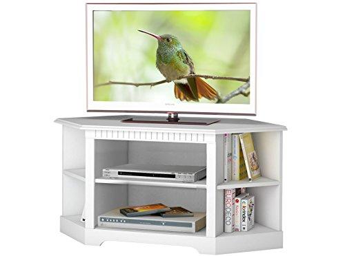 ELIZABETH Eck-Stereobank TV Lowboard TV-Bank Fernseh-Schrank Fernseh-Tisch Kiefer massiv weiß lackiert