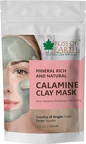 Bliss of Earth 100% Pure Pink Calamine Clay Powder, 100g - Maske Bliss