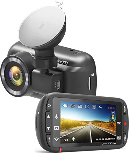 Kenwood DRV-A301W Full-HD-Dashcam mit 3-Achsen G-Sensor, GPS und Wireless Link, inkl. 16GB Micro SD-Karte