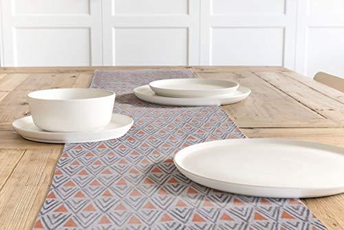 SCHÖNER LEBEN. Tischläufer Dreiecke Retro weiß grau orange 40x160cm