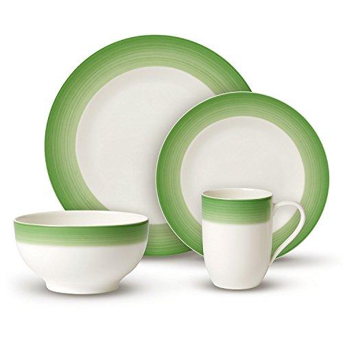 Villeroy & Boch Colourful Life Green Apple Ensemble de vaisselle, Set de 8 pièces, Porcelaine Premium, Blanc/Vert