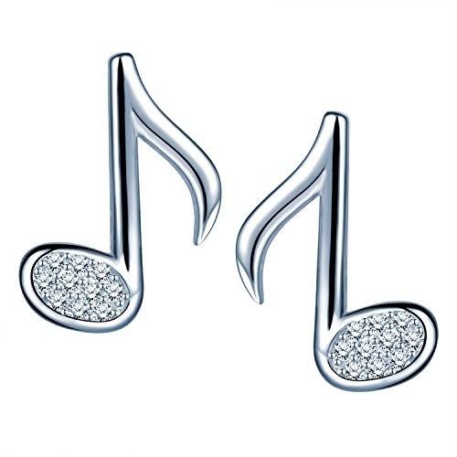Infinite U Simple 925plata de ley Circonita Musical Nota studs para mujer niñas pendientes, Plata