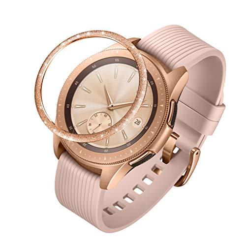 Lünette Ringkleberdeckel Für Samsung Galaxy Watch 42MM,Glitter Geätztes Wort Lünette Ring Selbstklebende Abdeckung Anti Scratch Uhr Schutzhülle Hülle Metal (Rotgold)
