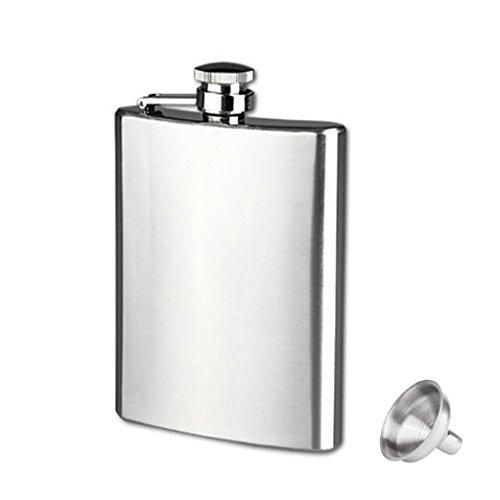 Clode® Flachmann Hip Flask Edelstahl Silber Schraubverschlussdeckel mit Trichter (18oz/500ml)