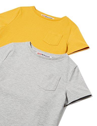 RED WAGON Jungen T-Shirt 2er Pack, Grau (Grey Marl/TBC), 110 (Herstellergröße: 5 Jahre)