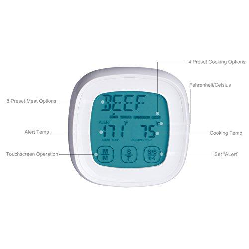 ZeWoo Küchenthermometer Ofenthermometer Digital LCD Berührungsempfindlicher Bildschirm Fleisch Haushaltsthermometer Lebensmittel Koch Thermometer mit 2 Sonde - 4