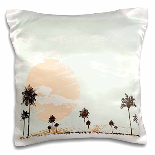 Anne Marie Baugh Beaches - Large Sunset With Palm Trees - 16x16 inch Pillow Case (pc_152275_1)