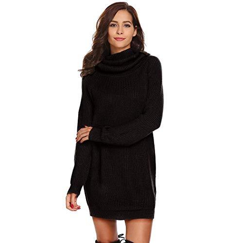 Strickpullover Kleid Damen SummerRio Mode Lose Sweatshirt Pullover Kleid Knielang Rollkragen Lange Pulli 3 Farben S-XL -